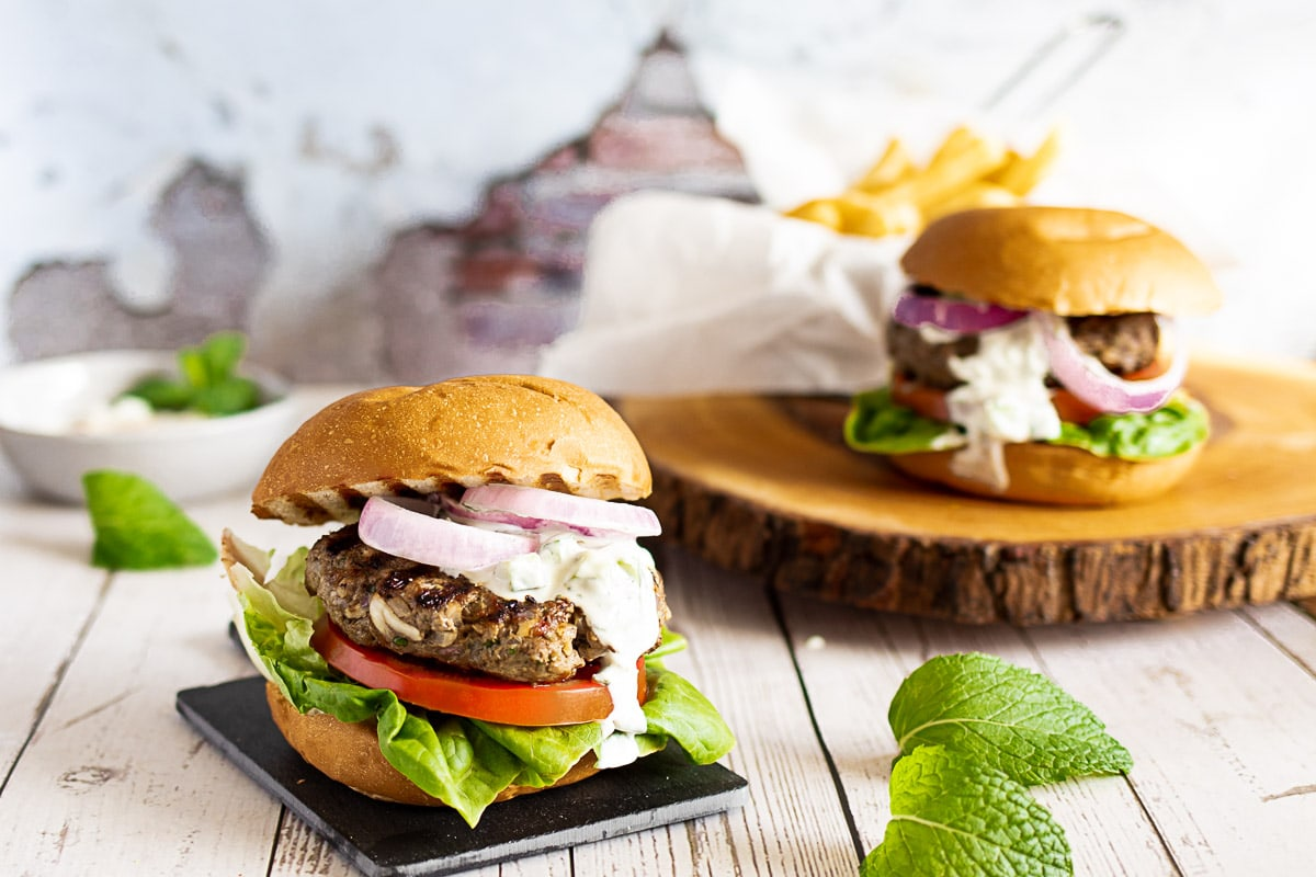 Mint Lamb Burgers with fries
