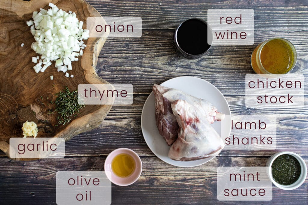 Minted lamb shank ingredients