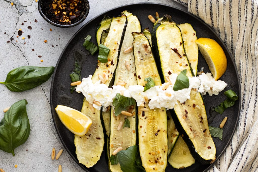 Roasted courgettes on a plate