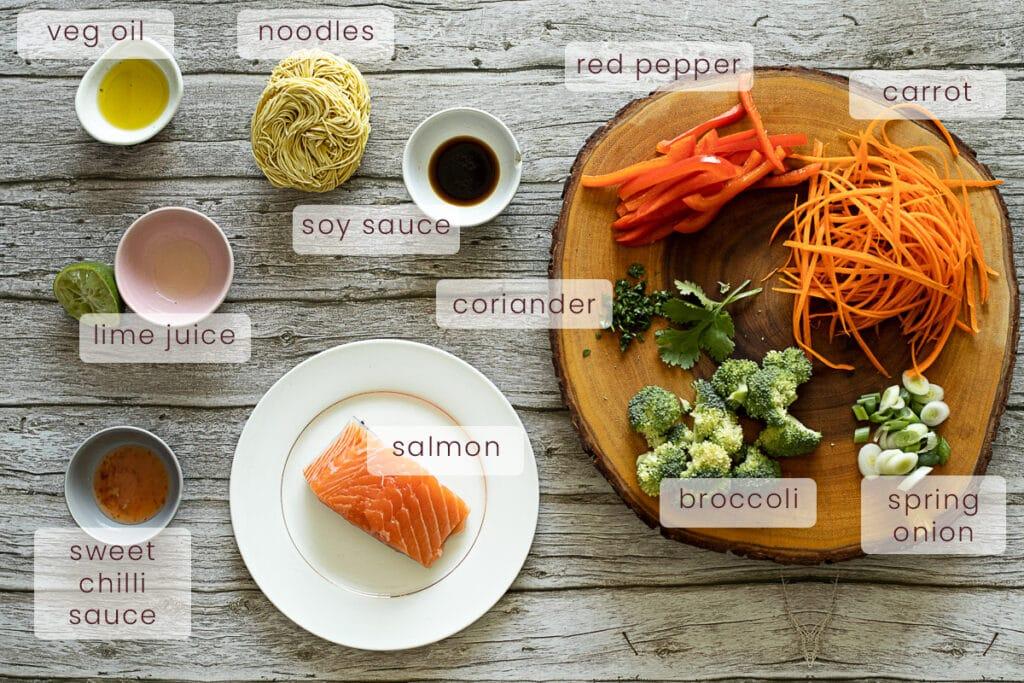 Salmon stir fry ingredients