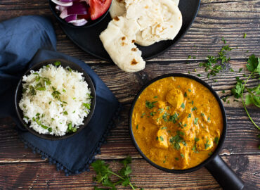 Slow Cooker Chicken Korma with Rice and Naan