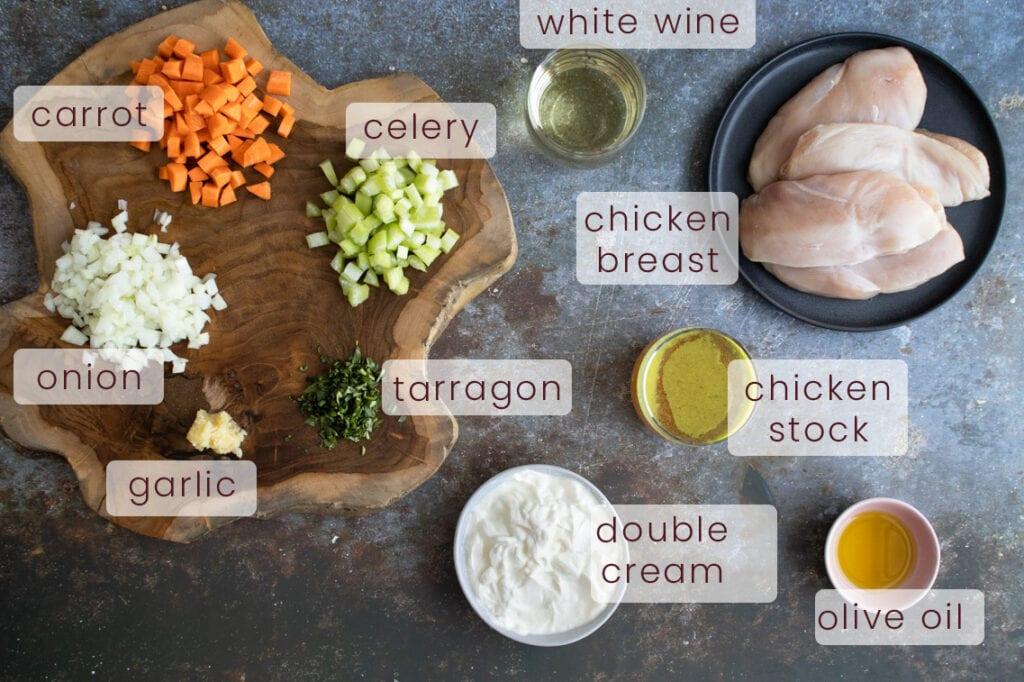 Tarragon chicken ingredients