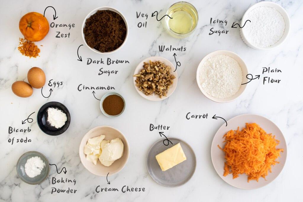 Carrot cake traybake ingredients