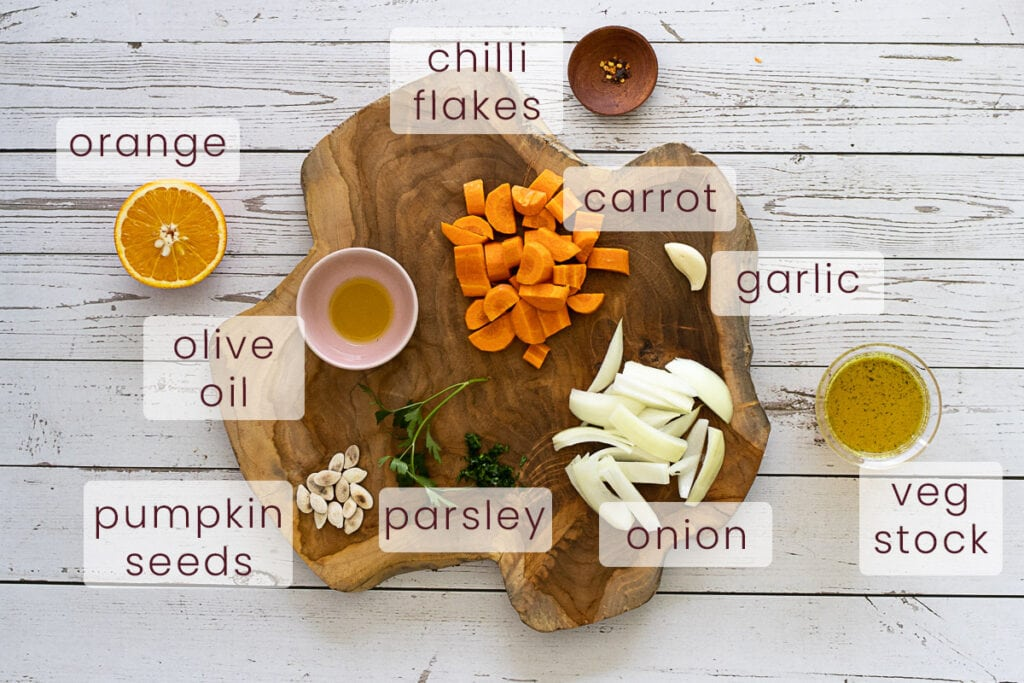 Carrot and orange soup ingredients