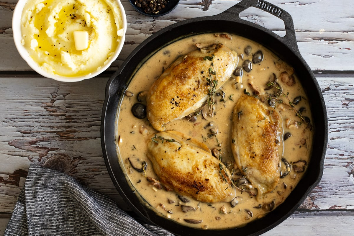 Chicken supreme in a pan in sauce