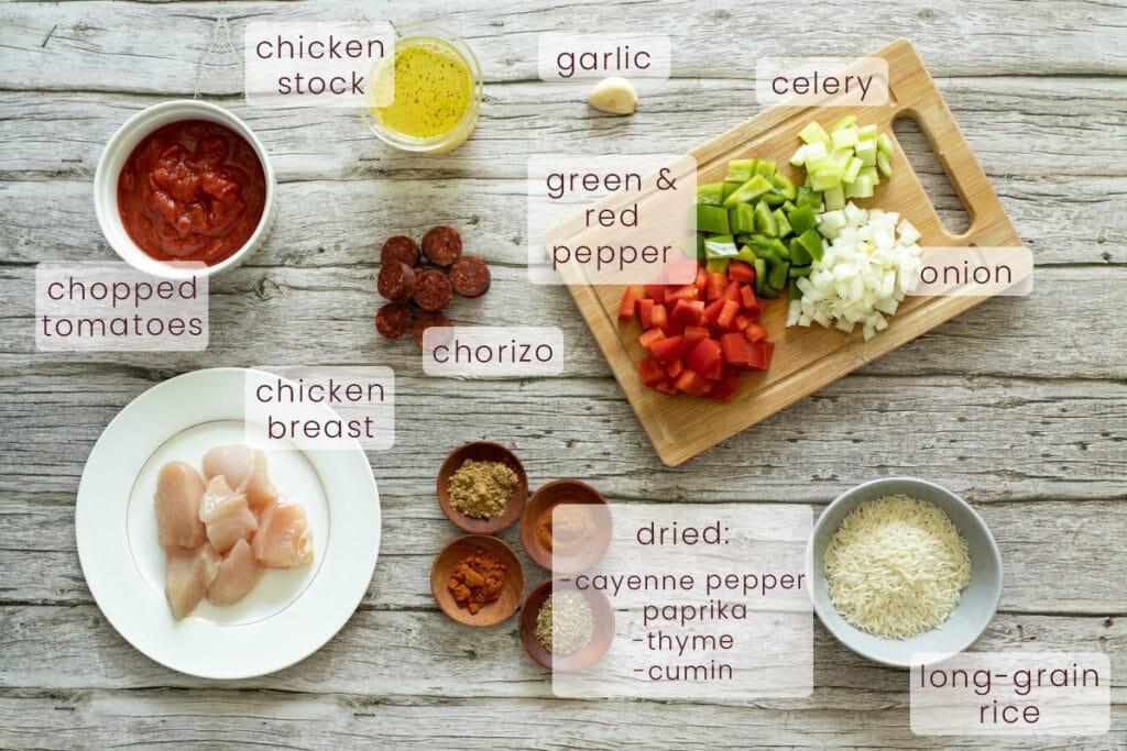 Chicken and chorizo jambalaya ingredients
