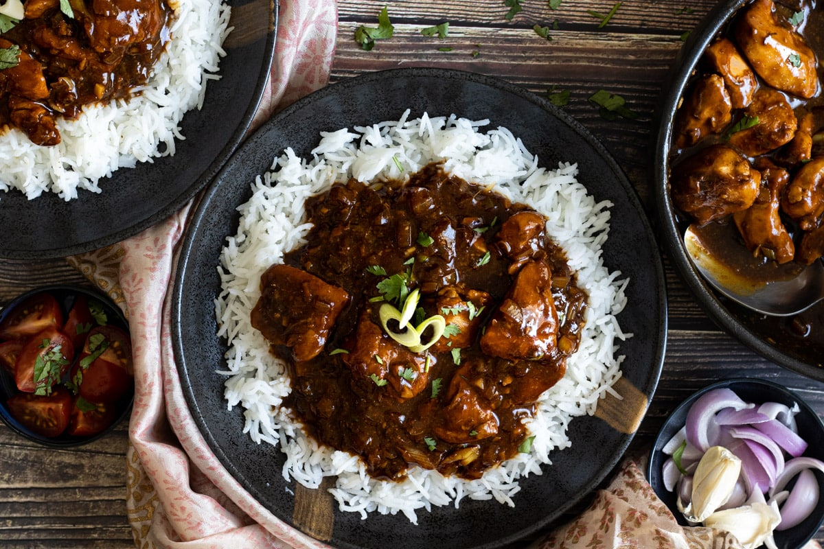 Chicken Manchurian in bowls with rice