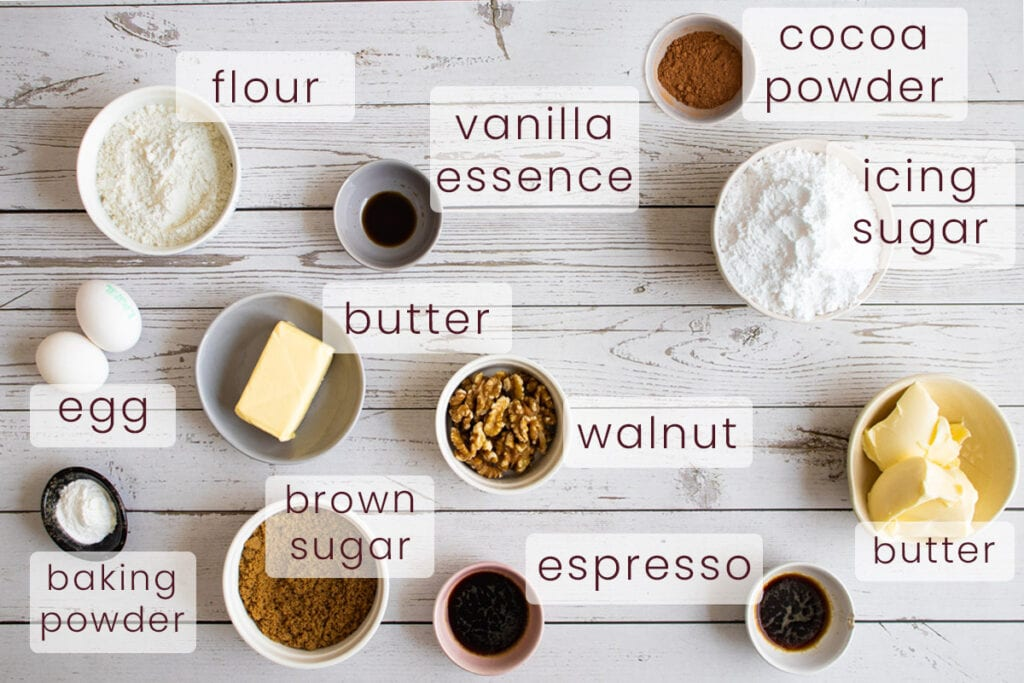 Coffee and walnut cupcake ingredients