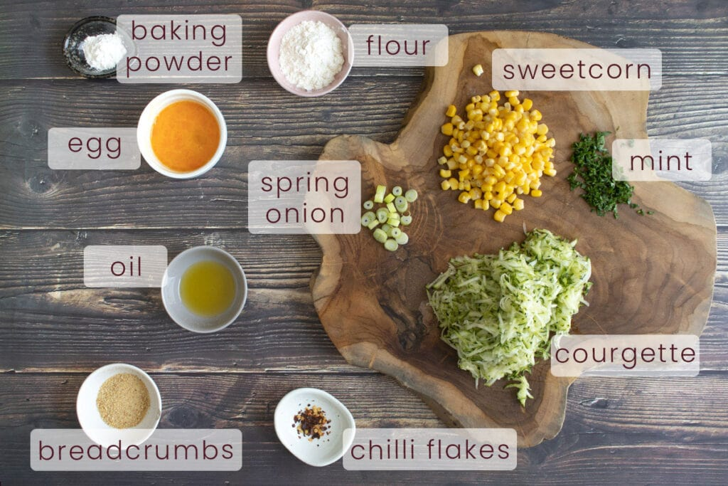 Courgette and Sweetcorn Fritter Ingredients