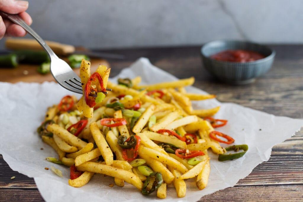 Salt and Pepper Chips on a fork