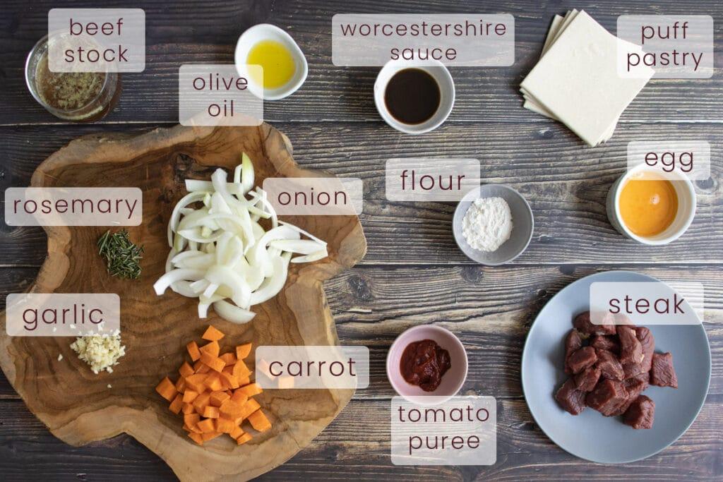 Slow cooker steak pie ingredients