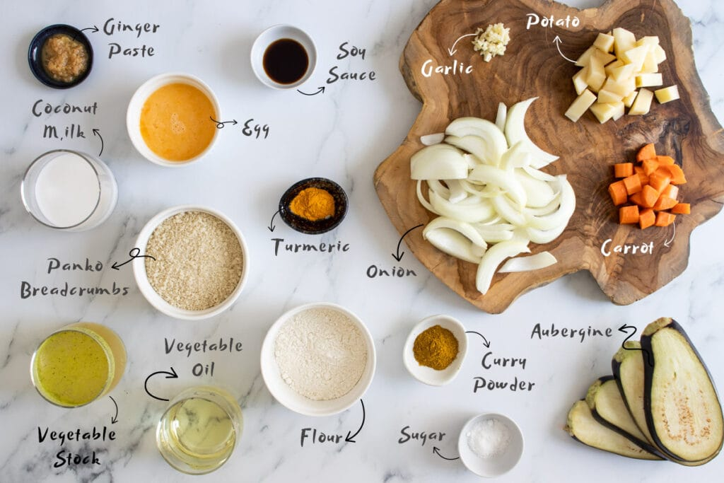 Aubergine Katsu Curry Ingredients