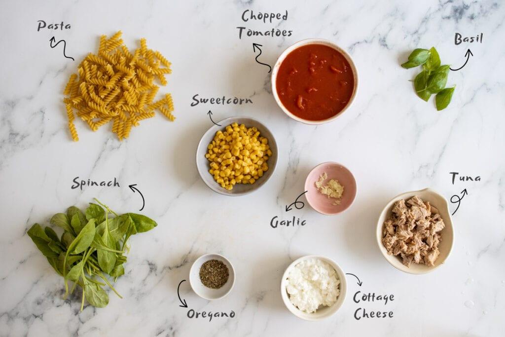 Healthy Tuna Pasta Bake Ingredients