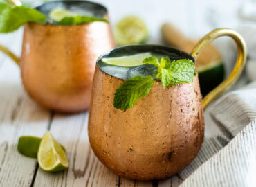 Two Jamaican mules in copper glasses with slices of lime