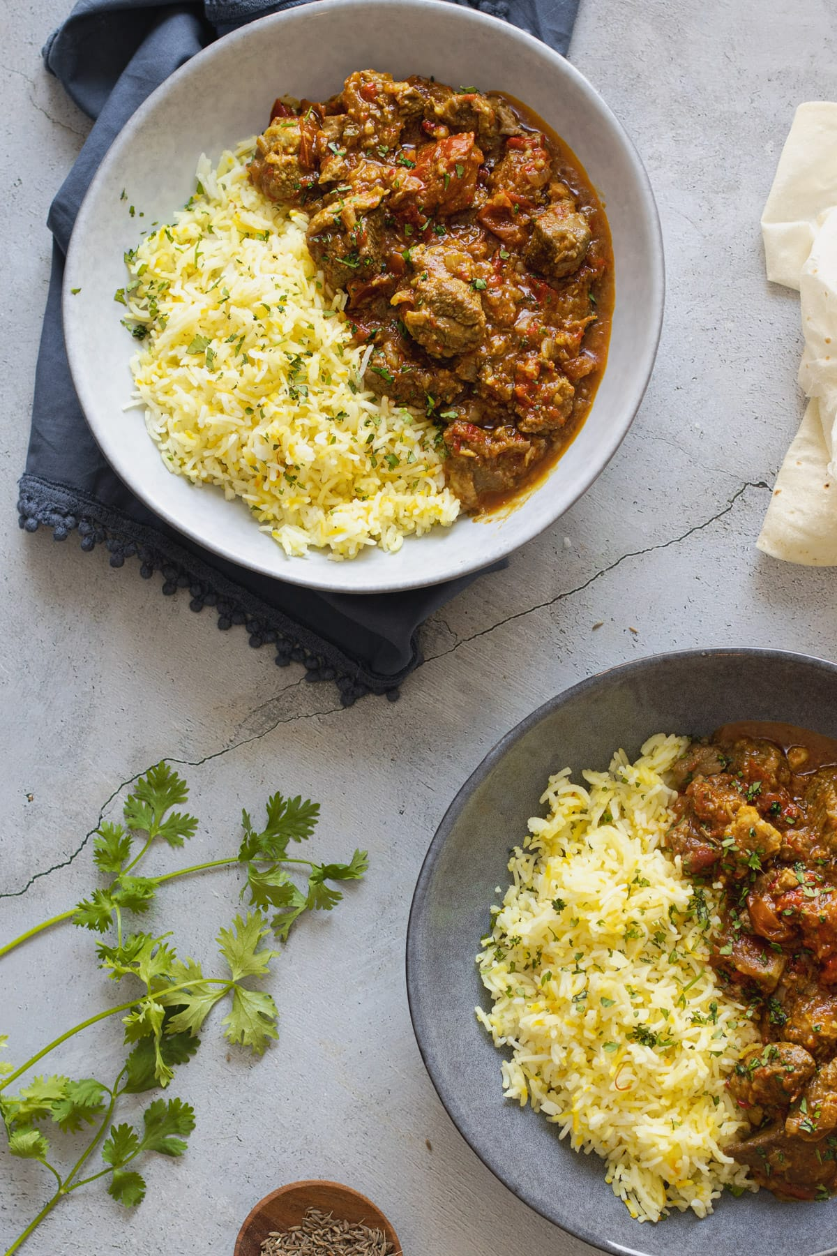 Lamb Bhuna in bowls with rice