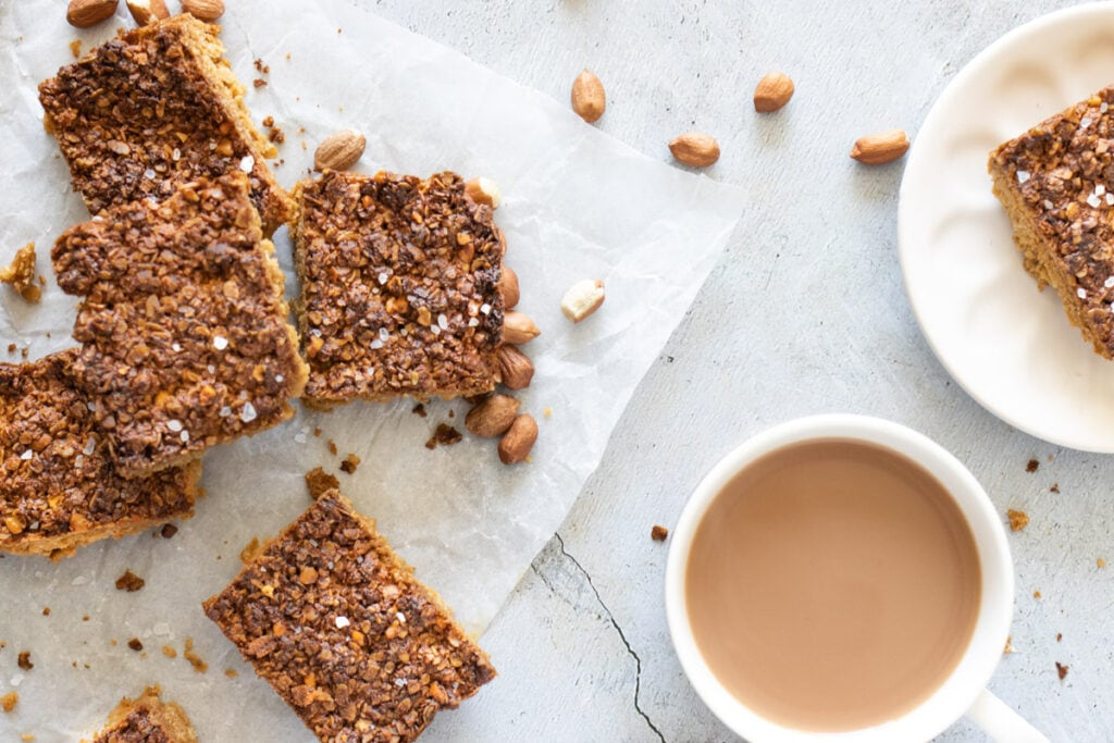 Peanut Butter Flapjacks with a cup of tea