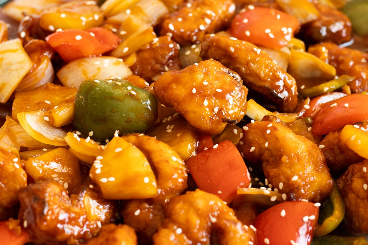 Sweet and Sour Chicken Hong Kong Style Close Up