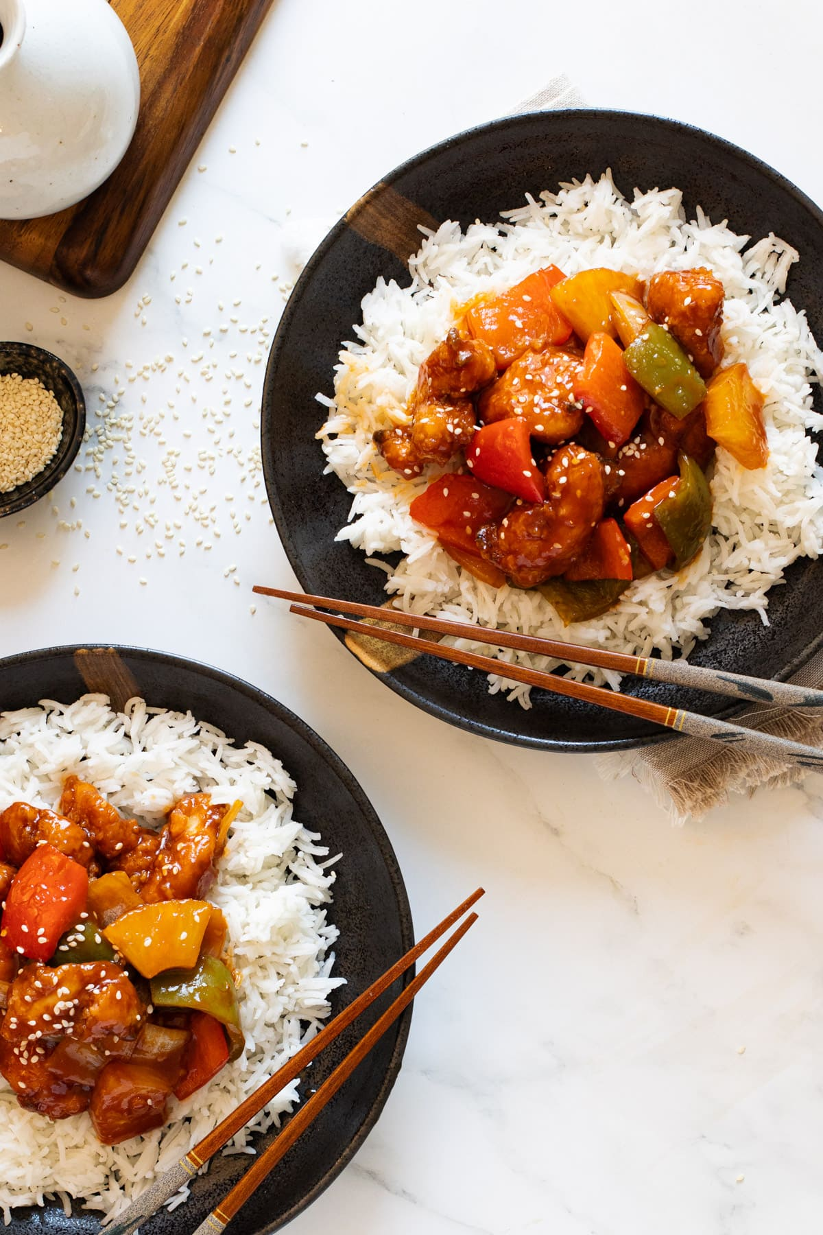 Sweet and Sour Chicken Hong Kong Style in Bowls with Rice