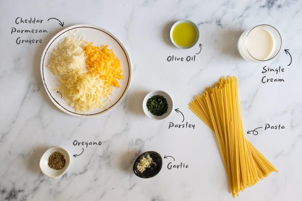 Cheesy pasta ingredients