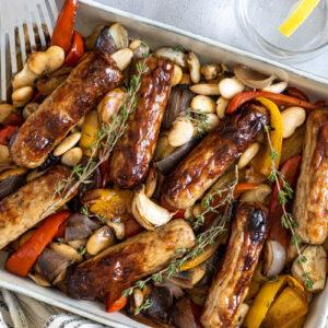Sausage traybake being served
