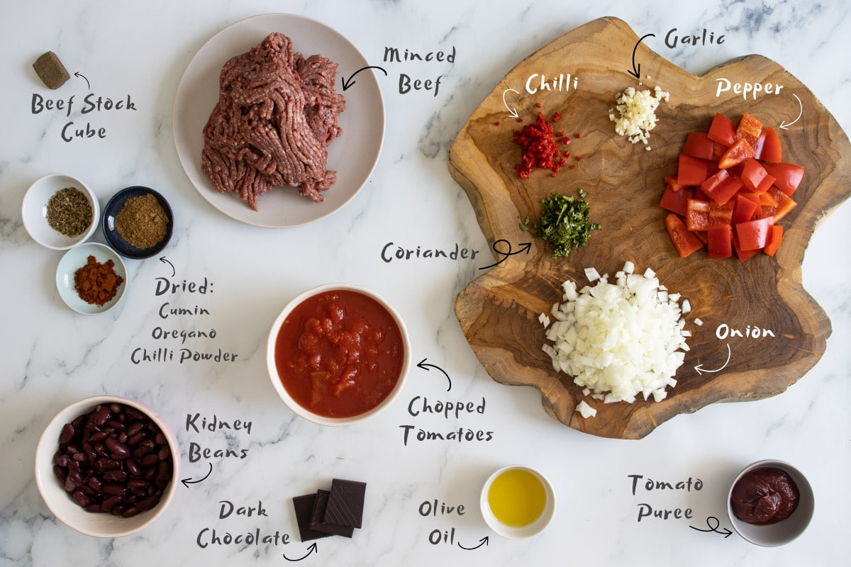 Slow cooker chilli con carne ingredients